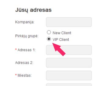 """Grafoje """"Pirkėjų grupė"""" pasirinkite """"VIP Client"""""""